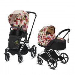 Coche de paseo dúo Cybex Priam con Chasis Chrome with brown details, Capazo y Pack de Accesorios Fashion Collection