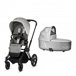 Coche de paseo dúo Cybex Priam con Chasis Matt black, Capazo y Pack de Accesorios Fashion Collection
